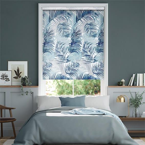 Palm Leaf Blue Roller Blind