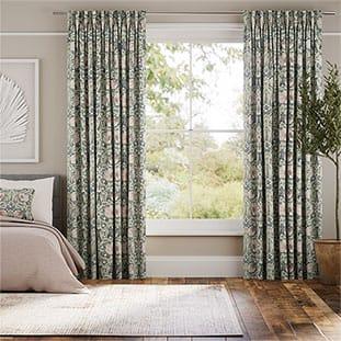 Palm Leaf Natural Grey Curtains thumbnail image