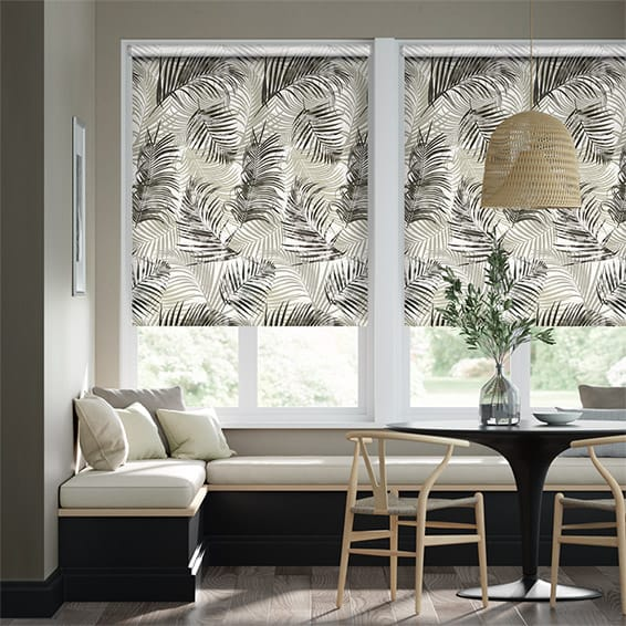 Palm Leaf Natural Grey Roller Blind