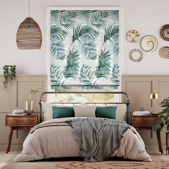 Palm Leaf Sage Green Roman Blind