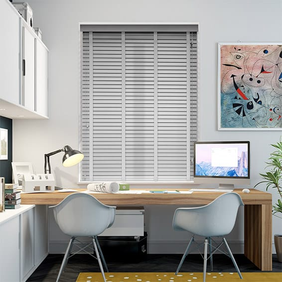 Pearl Grey & Mist Wooden Blind with Tapes - 35mm Slat