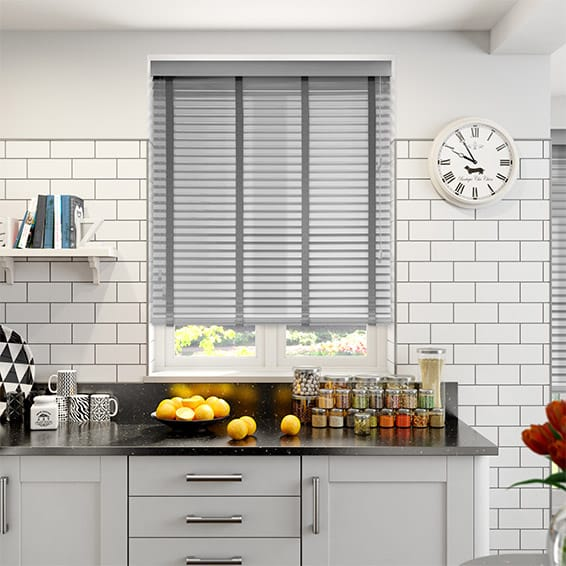 Pearl Grey & Steel Wooden Blind with Tapes - 35mm Slat