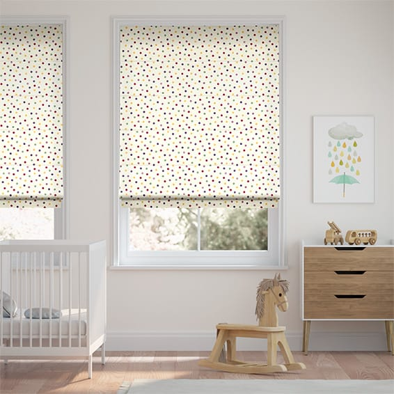 Polka Dot Purple Roman Blind