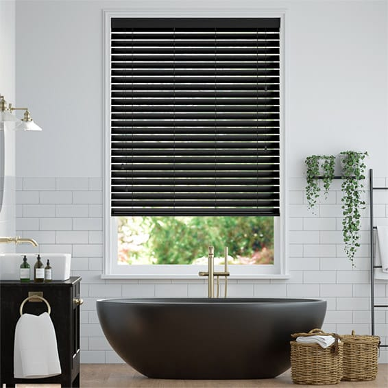 Premium Sleek Jet Faux Wood Blind - 50mm Slat