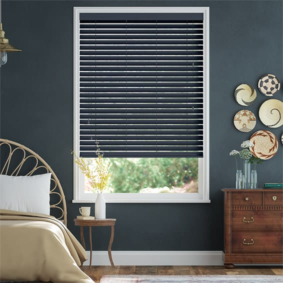 Premium Sleek Midnight Blue Faux Wood Blind - 50mm Slat