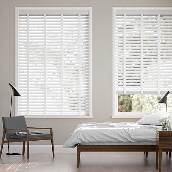 Pristine White & Tundra Faux Wood Blind - 50mm Slat