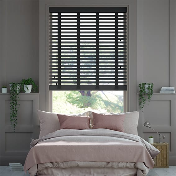 Pure Black & Ebony Wooden Blind with Tapes - 50mm Slat