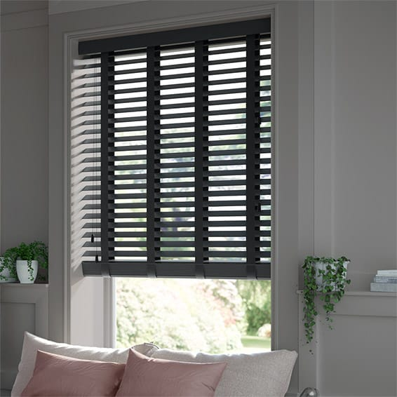 Pure Black Ebony Wooden Blind With Tapes 50mm Slat
