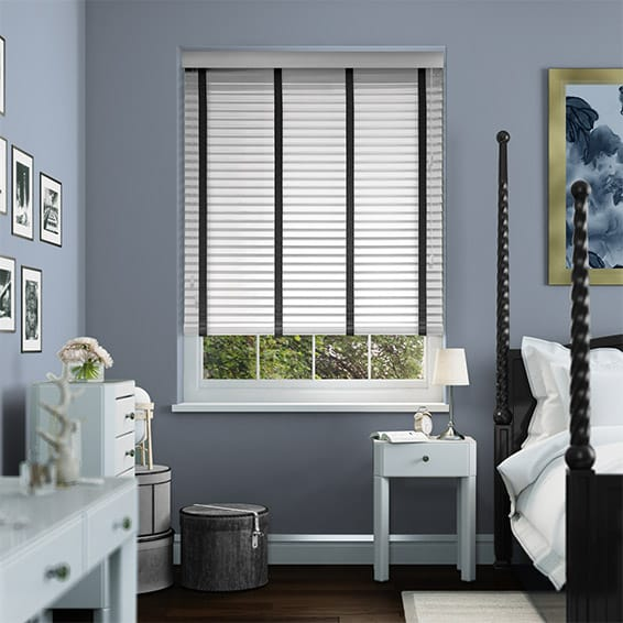 Pure White & Ebony Wooden Blind with Tapes - 35mm Slat