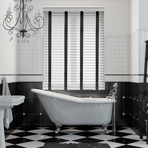 Pure White & Ebony Wooden Blind with Tapes - 50mm Slat
