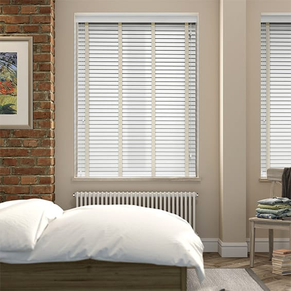 Pure White & Oyster Wooden Blind with Tapes - 35mm Slat