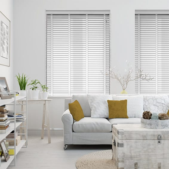 Pure White & White Wooden Blind with Tapes - 35mm Slat