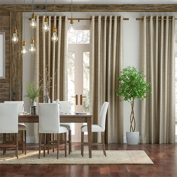 Real Silk Pale Gold Curtains