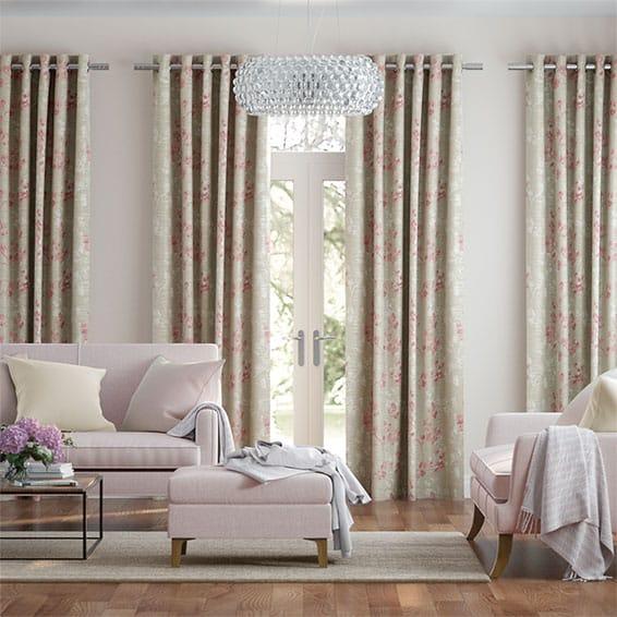Renaissance Faux Silk Blush Pink Curtains