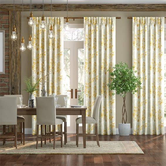 Renaissance Faux Silk Golden Curtains