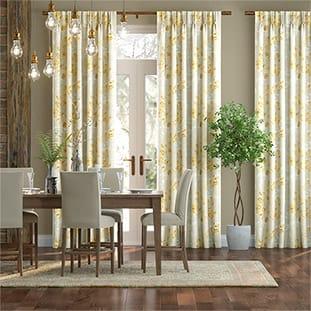 Renaissance Faux Silk Golden Curtains thumbnail image