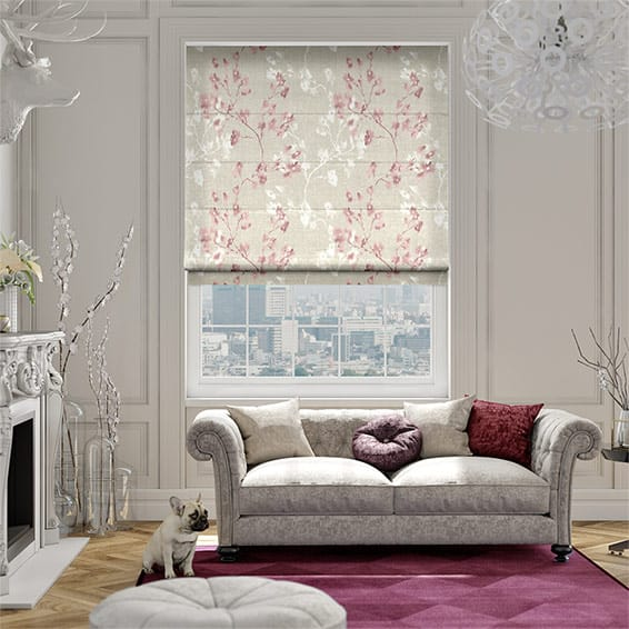 Renaissance Linen Blush Pink Roman Blind