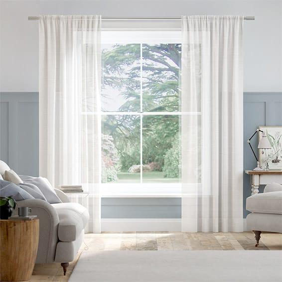 Rhythm Voile Arctic White Curtains