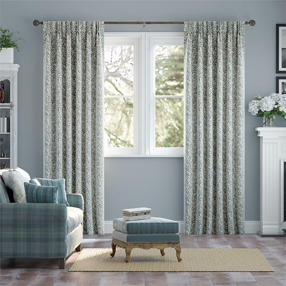 Rosehip Leaf Blue Curtains