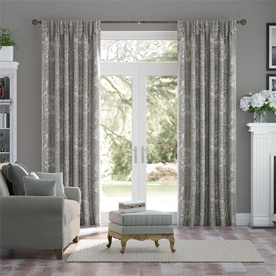 Savoy Faux Silk Chrome Curtains