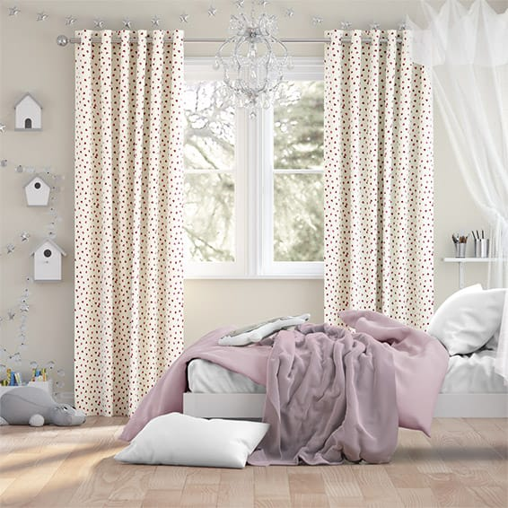Scattered Hearts Pink Curtains