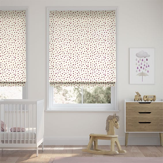 Scattered Hearts Pink Roman Blind