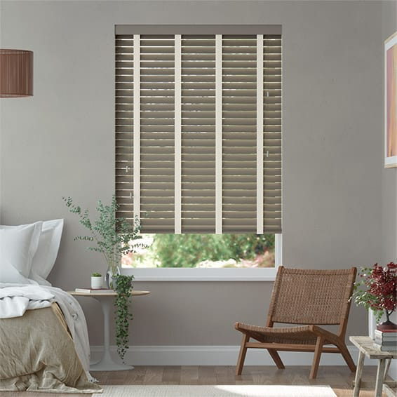 Shadow Grey and Soft Cotton Wooden Blind - 50mm Slat