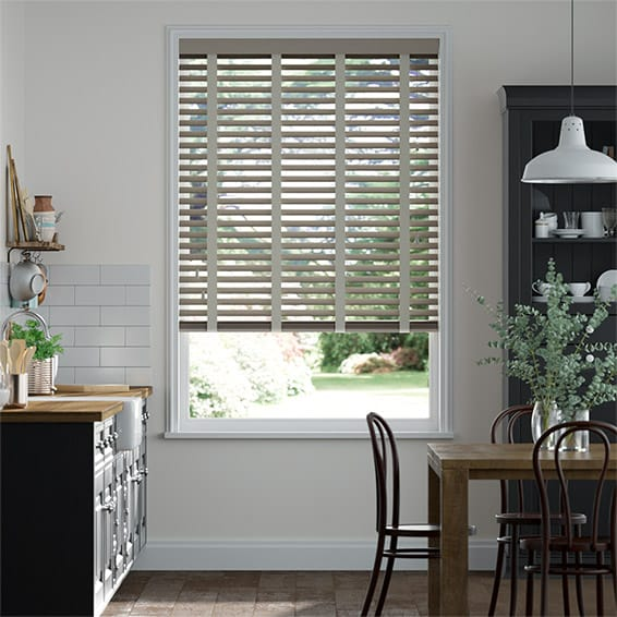 Shadow Grey and Elephant Grey Wooden Blind - 50mm Slat