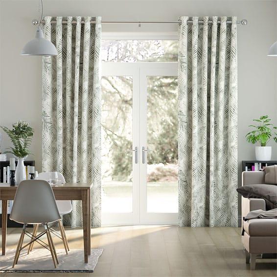 Shadow Leaf Linen Fawn Curtains