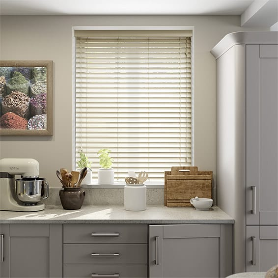 Shaker Cream Wooden Blind  - 50mm Slat