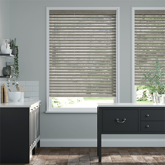 Smokey Ash Faux Wood Blind - 50mm Slat