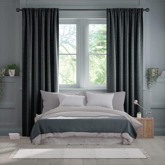 Smooth Sisal Graphite Curtains