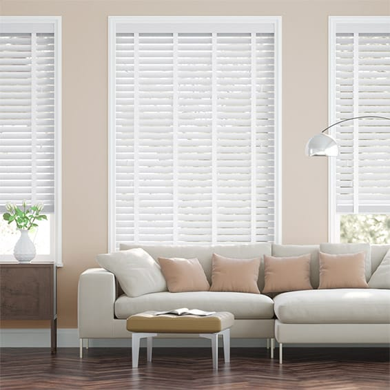 Snowdrift & Fresh White Faux Wooden Blind - 50mm Slat