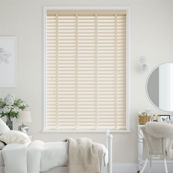 Soft Cream & Cream Faux Wood Blind - 50mm Slat