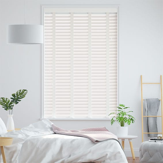 Soft White & Linen Wooden Blind - 50mm Slat