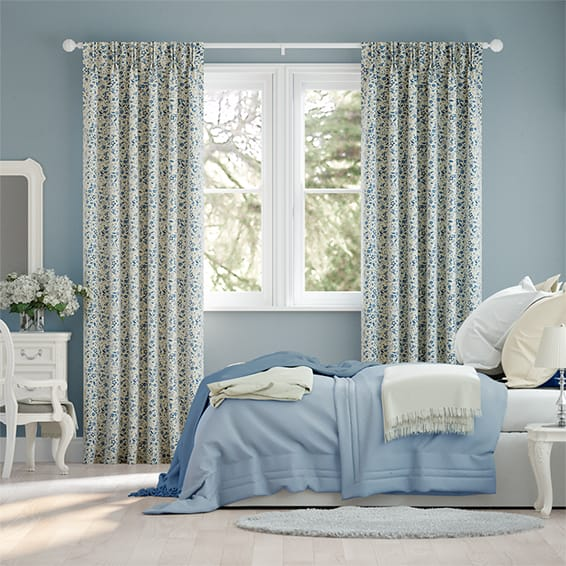 Spring Floral Blue Curtains