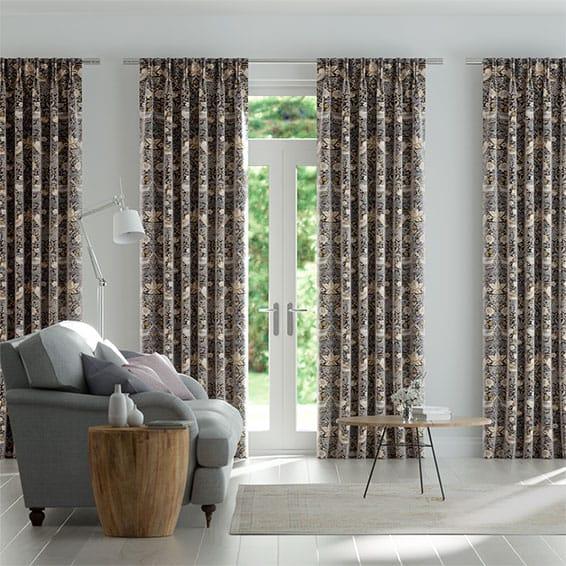 William Morris Strawberry Thief Velvet Taupe Curtains