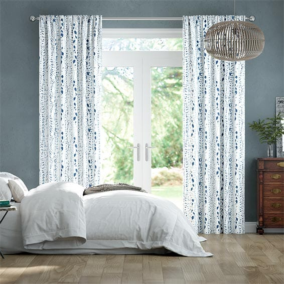 String of Hearts Blue Curtains
