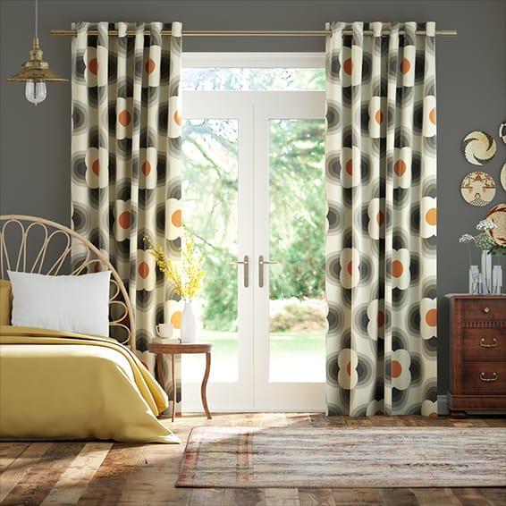 Striped Petal Orange Curtains