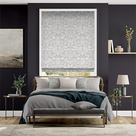 William Morris Sunflower Silver Grey Roman Blind
