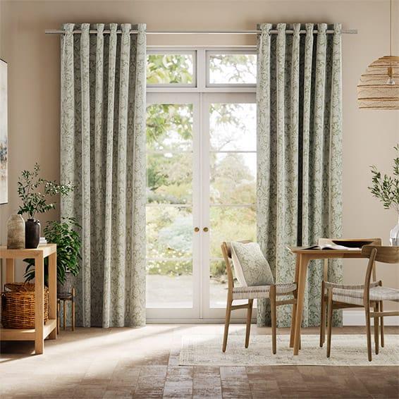 William Morris Sunflower Soft Green Curtains