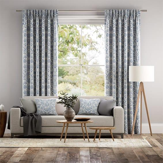 William Morris Sunflower Vintage Blue Curtains