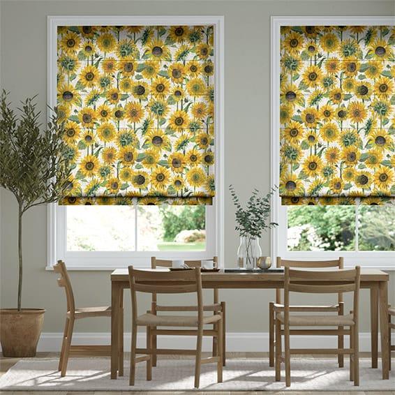 Sunflowers Yellow Roman Blind