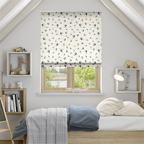Swallows and Swifts Blue Roman Blind