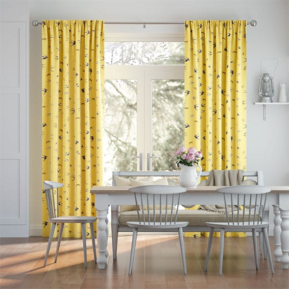 Swallows and Swifts Hellebore Yellow  Curtains