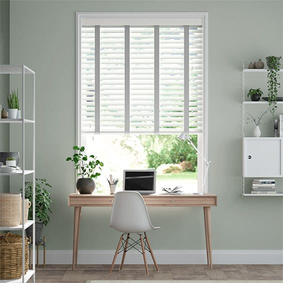 Tampa Cool White & Silver Faux Wood Blind - 50mm Slat