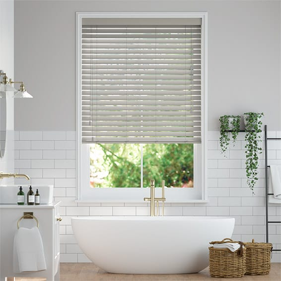 Tampa Tonal Grey Faux Wood Blind - 50mm Slat