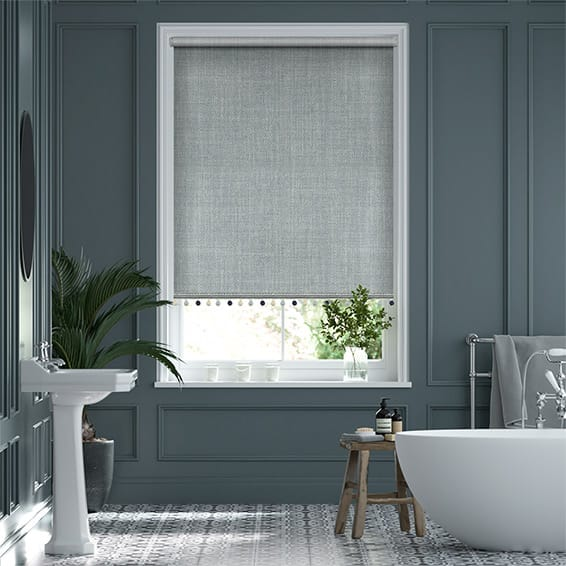 Thermal Luxe Dimout Blue Mist & Henley Roller Blind