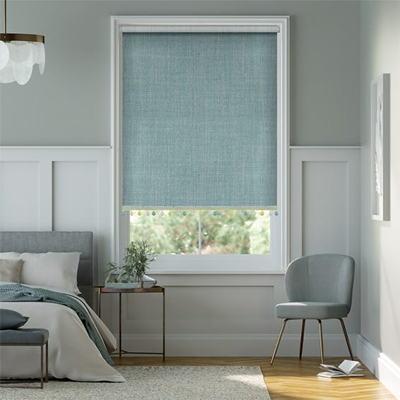 Thermal Luxe Dimout Teal & Spring Roller Blind