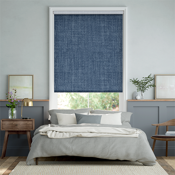 Thermal Luxe Dimout Whale Blue Roller Blind